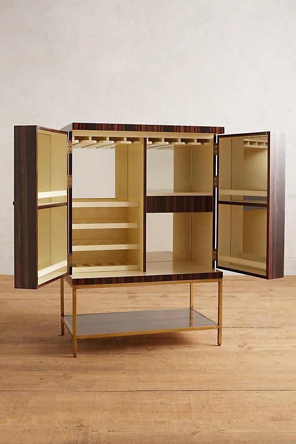Slide View 3 Ribboned Wood Bar Cabinet