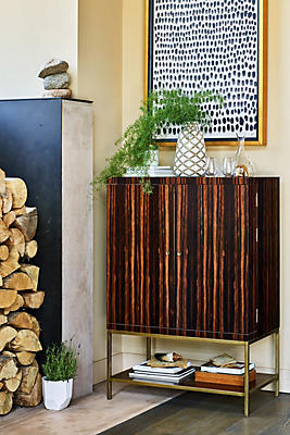 Ribboned Wood Bar Cabinet