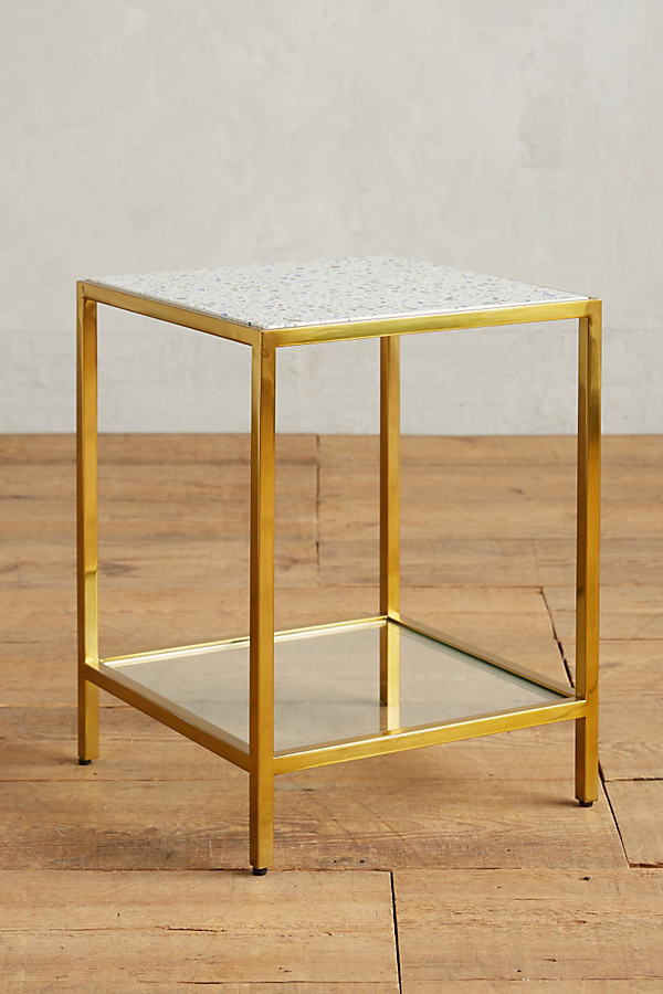 Framed Terrazzo Side Table - Neutral Motif