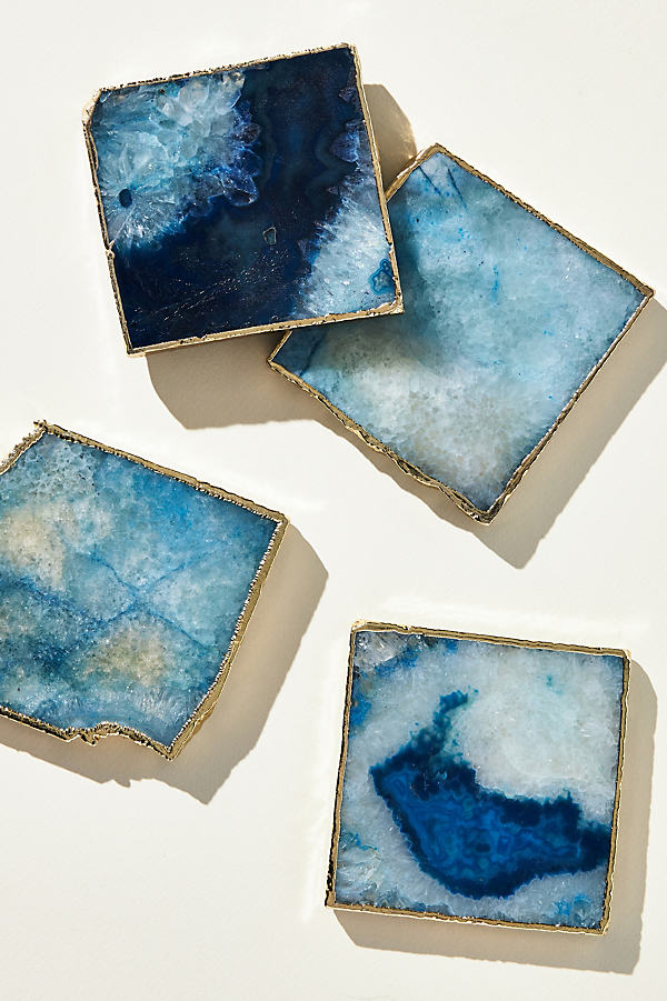 Slivered Geode Coaster - Blue, Size Coasters