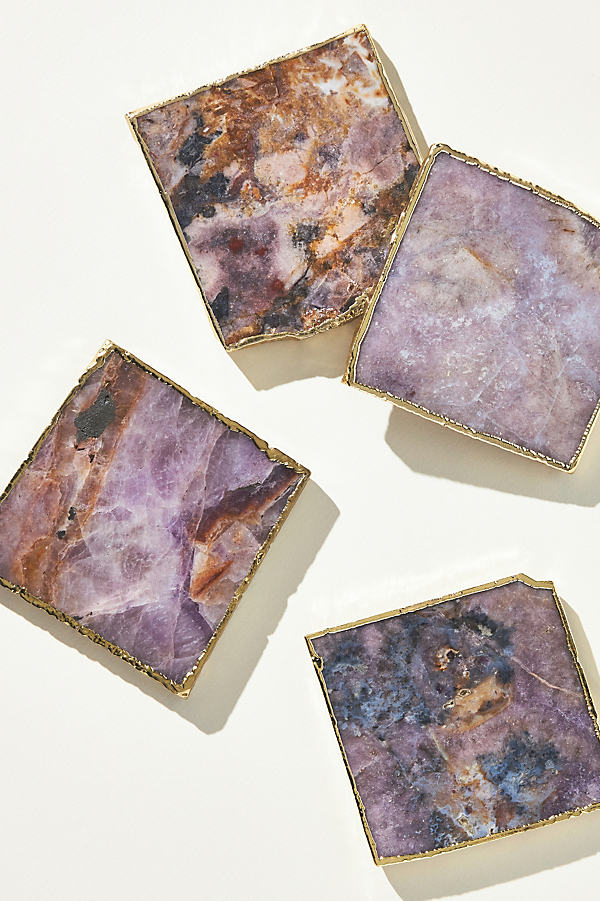 Slivered Geode Coaster - Dark Purple