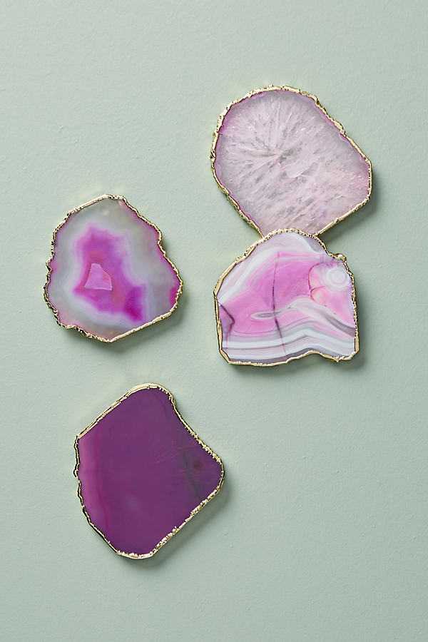 Slivered Geode Coaster - Rose, Size Coasters