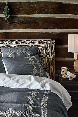 Slide View: 1: Embroidered Argenta Duvet Cover