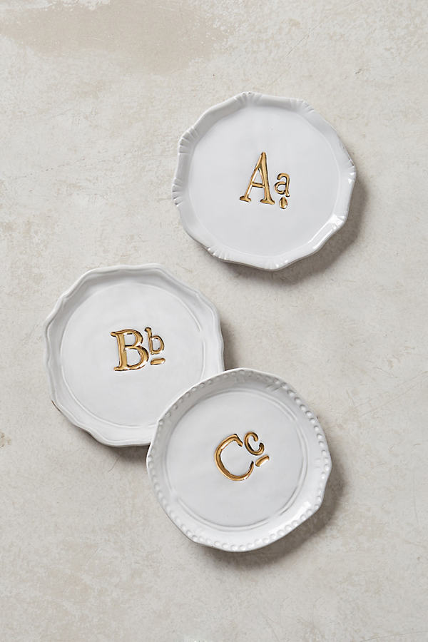 Gilded Superscript Monogram Coaster - A, Size Uk 6