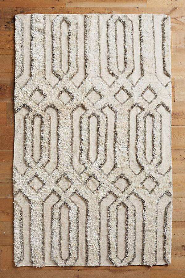 Hand-Tufted Trellis Rug - Ivory, Size 5 X 8