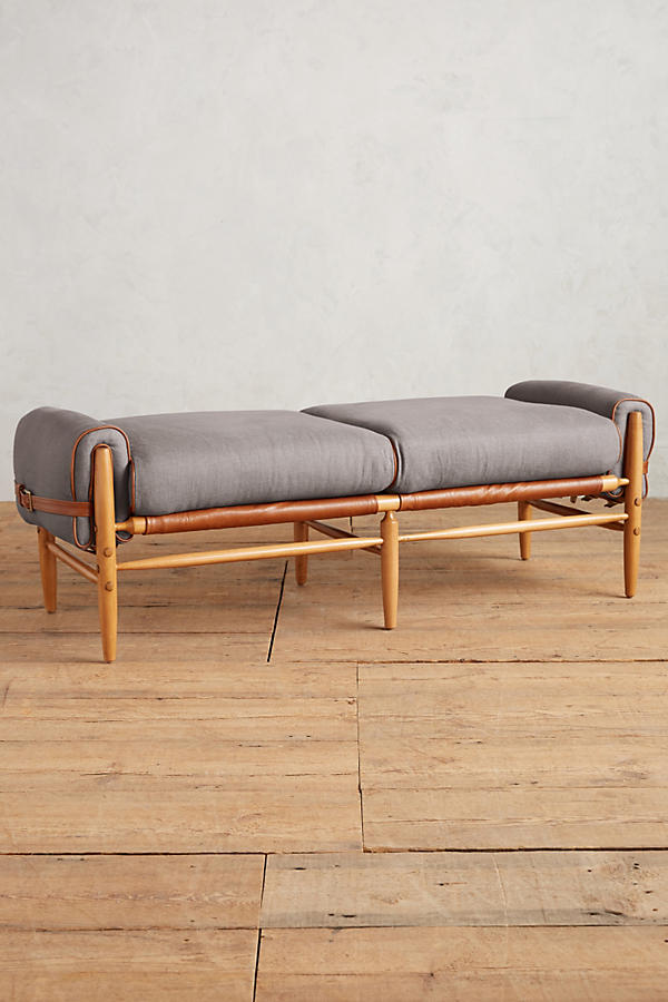 Slide View: 1: Belgian Linen Rhys Bench