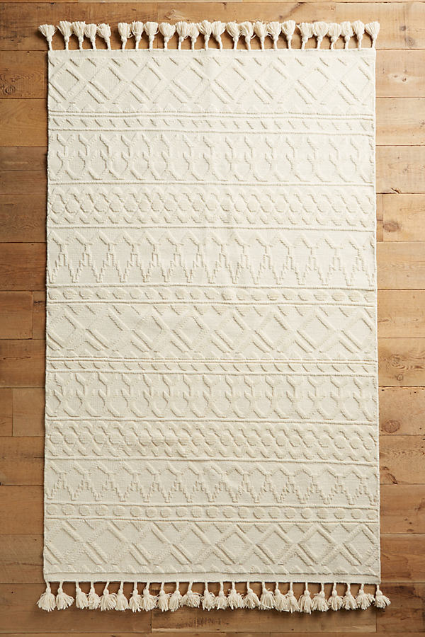 Hand-Knotted Kamala Rug - Neutral Motif, Size 5 X 8