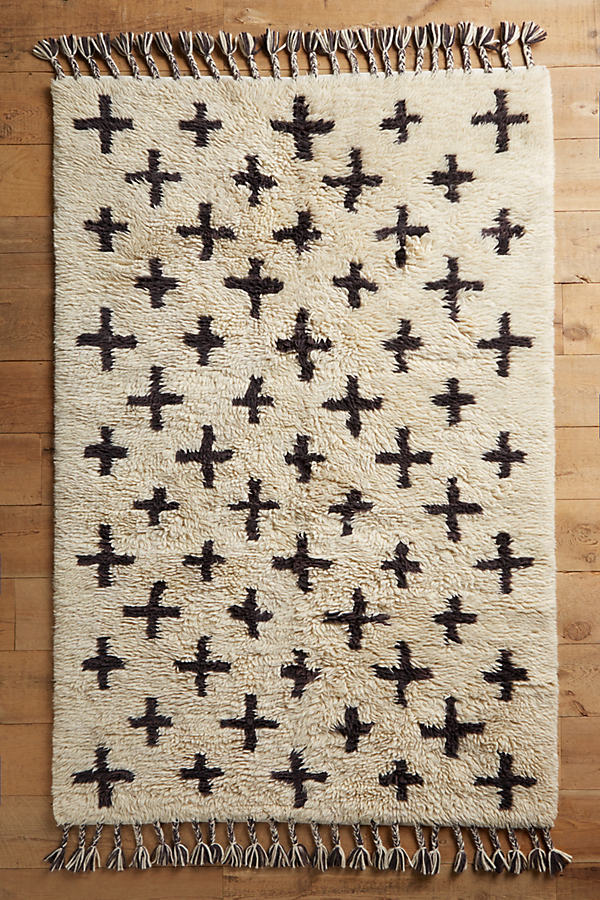Hand-Woven Moroccan Cross Rug - Ivory, Size 5 X 8