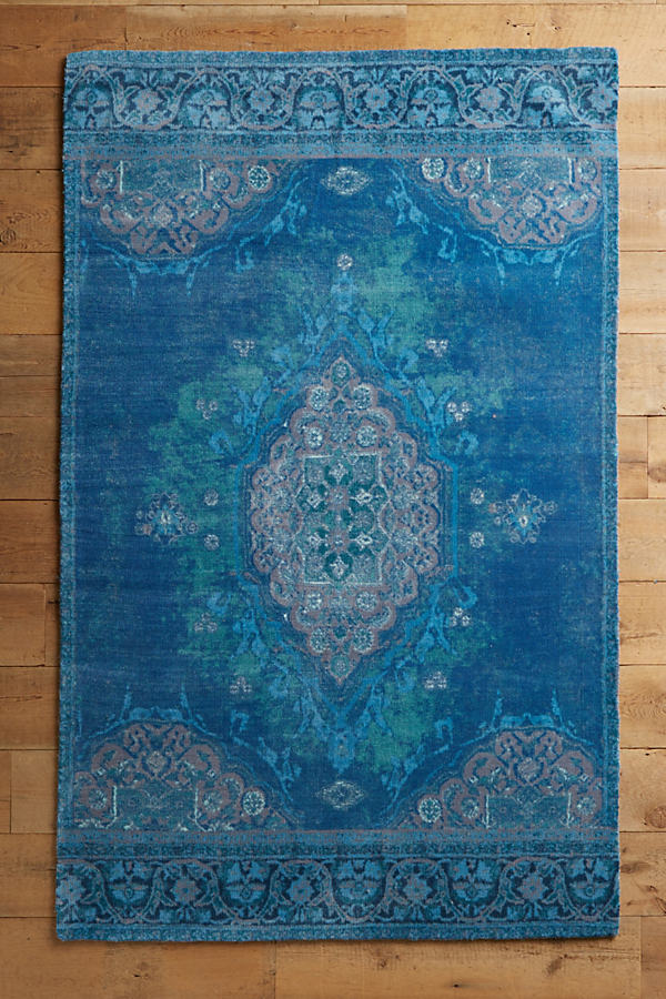 Overdyed Vedado Rug - Dark Turquoise, Size 2.5 X 9