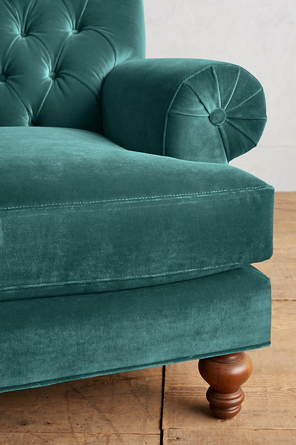 Slide View: 3: Velvet Fan Pleat Settee