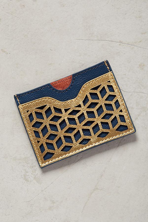 Lasercut Leather Card Holder - Navy