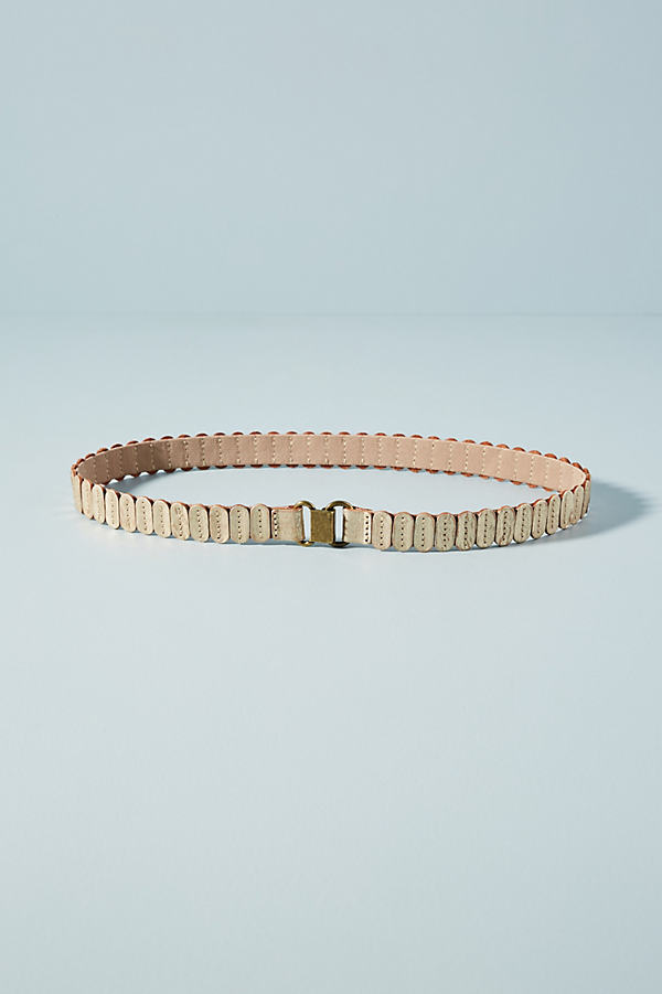 Skinny Leather Tab Belt - Gold, Size S