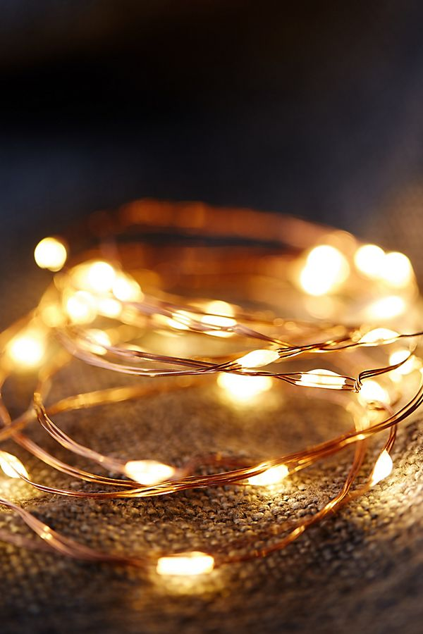 Stargazer Copper Twine Lights, 100' Plug-In | Anthropologie