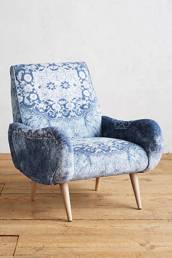 Rug-Printed Losange Chair - Light Grey