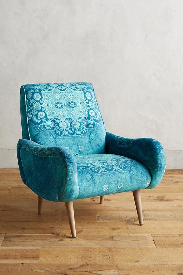 Rug-Printed Losange Chair - Dark Turquoise