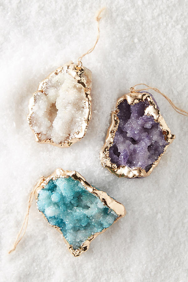Gorgeous druzy Christmas ornaments