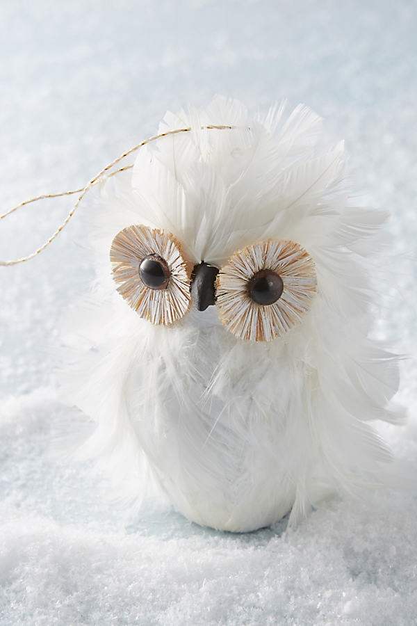 Feathered Owl Christmas Ornament - White