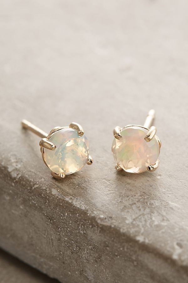 14k Gold Round Stud Earrings