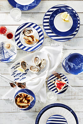 Slide View: 3: Caskata Blue Chart Dinner Plate