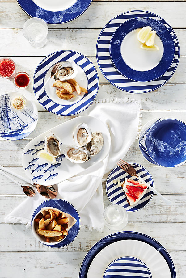 Caskata rigging blue canape plate set anthropologie for Canape plate sets