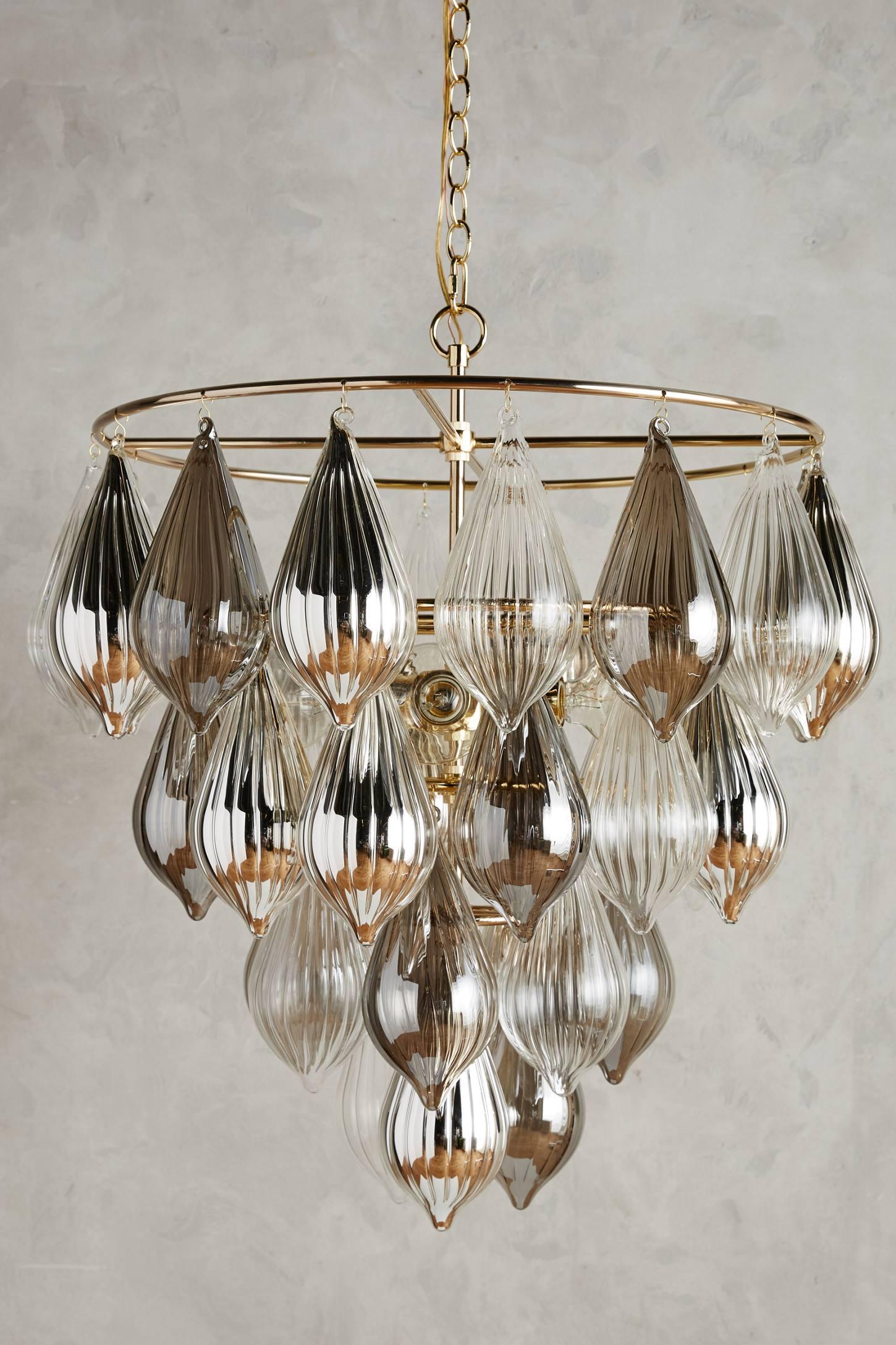 Clustered droplet chandelier anthropologie for Long ceiling light fixture