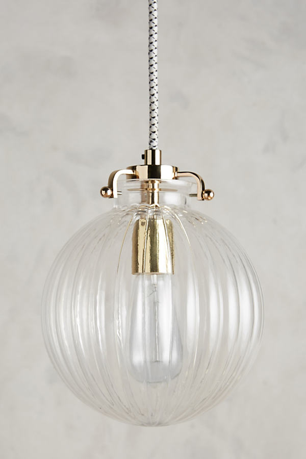 Fluted Glass Globe Pendant - Bronze