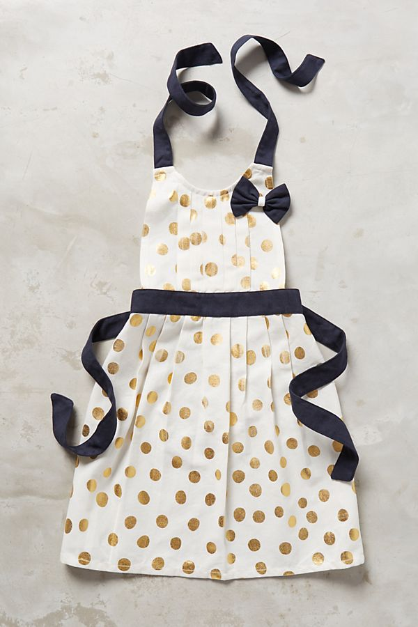 Slide View: 1: Gold Polka Dotted Kid's Apron