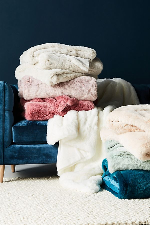 Fireside Faux Fur Throw Blanket | Anthropologie