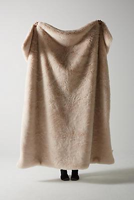 Slide View: 1: Fireside Faux-Fur Throw Blanket