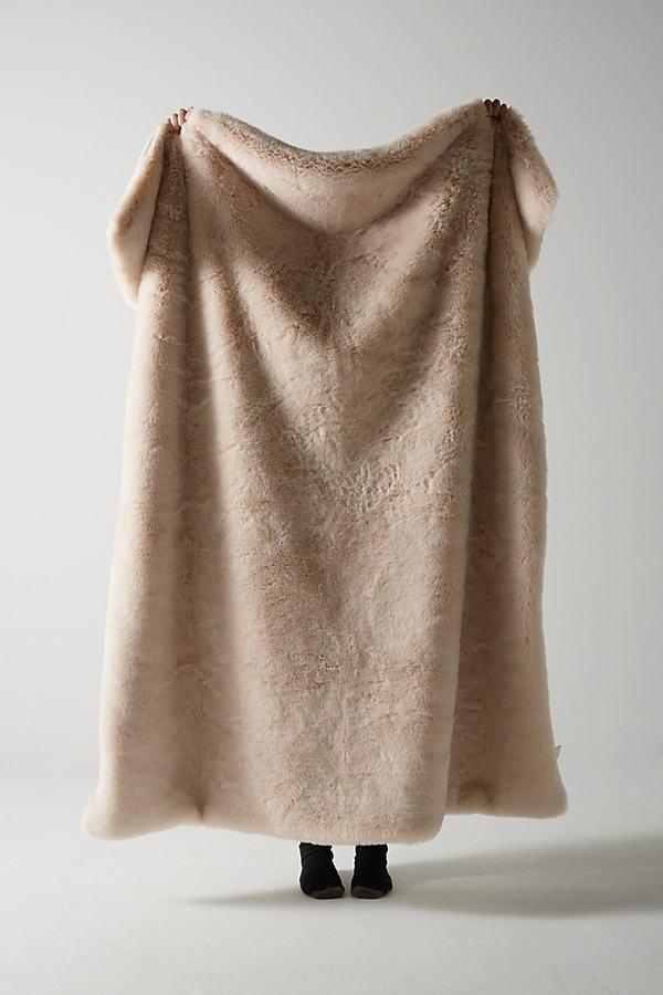 Fireside Faux-Fur Throw Blanket - Pink