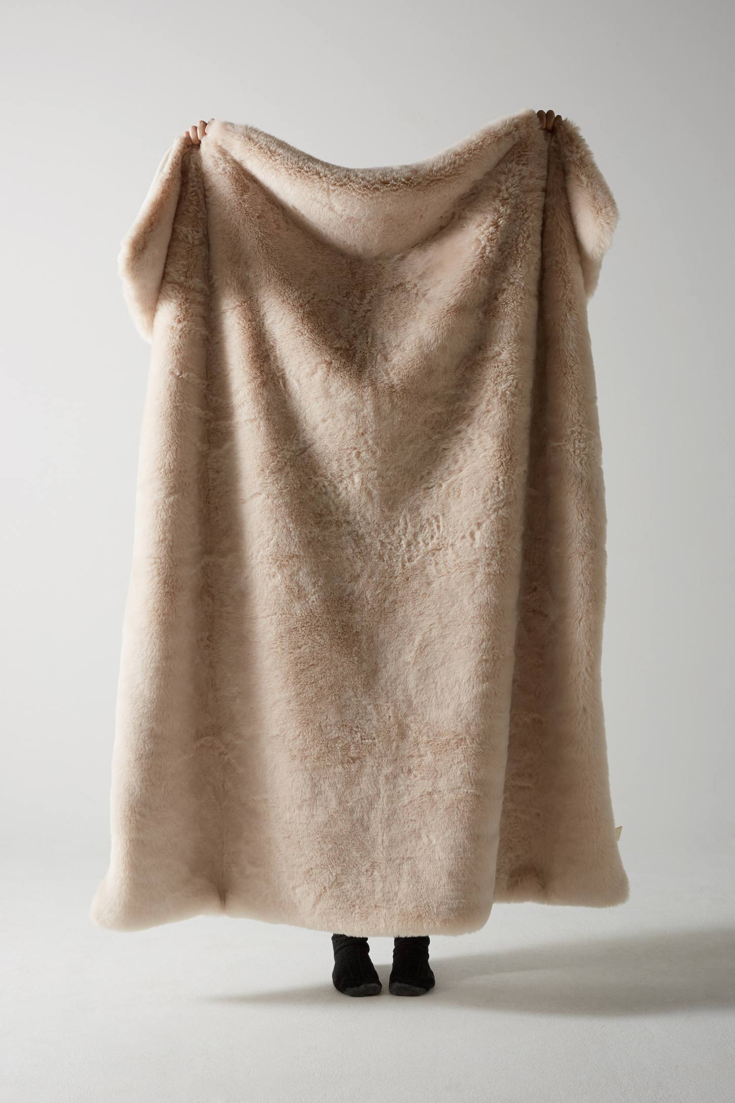 Slide View: 1: Fireside Faux-Fur Throw Blanket