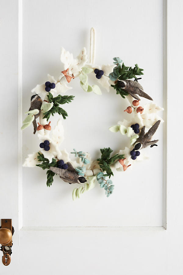 Felted Chickadee Wreath