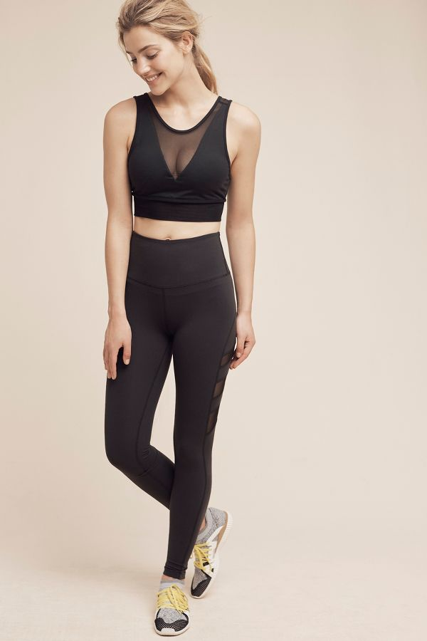 Beyond Yoga Mesh-Striped Studio Leggings