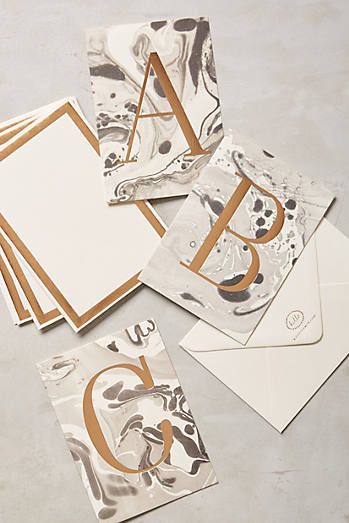 Marbled Monogram Cards