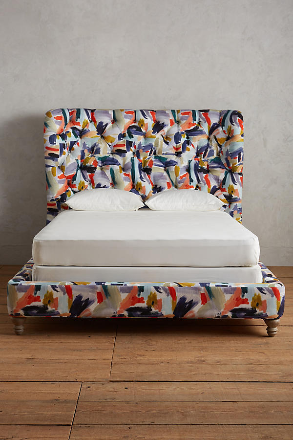 Slide View: 2: Brushstroke-Printed Wingback Bed