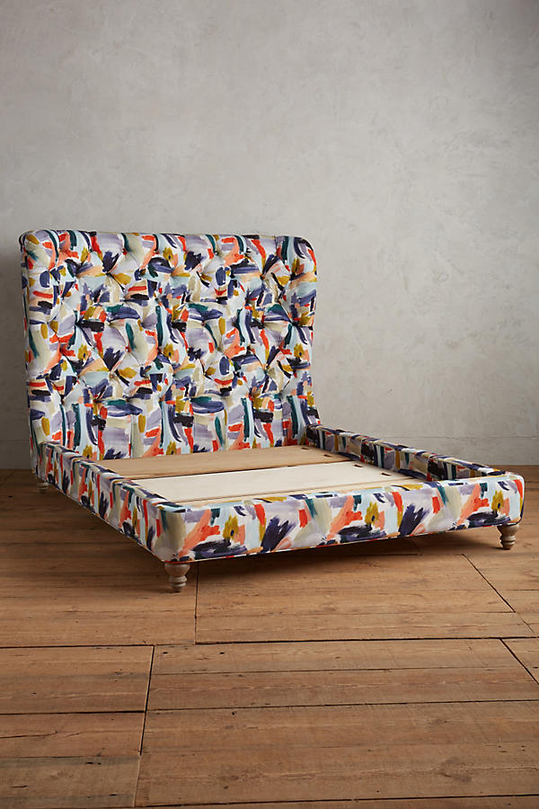 Slide View: 3: Brushstroke-Printed Wingback Bed