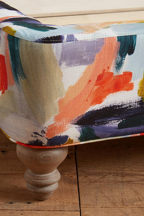 Slide View: 5: Brushstroke-Printed Wingback Bed