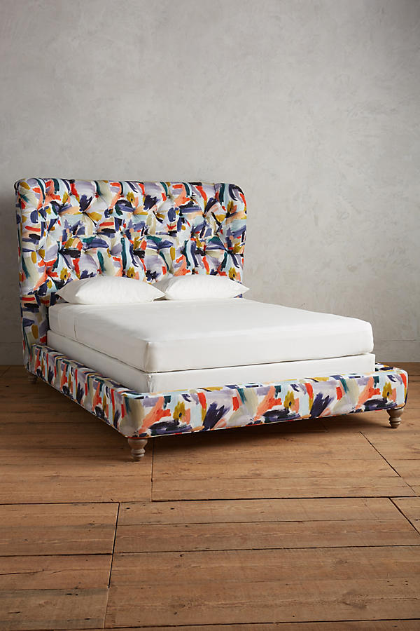 Slide View: 1: Brushstroke-Printed Wingback Bed