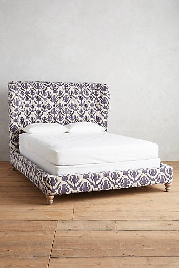 Thistle-Printed Wingback Bed