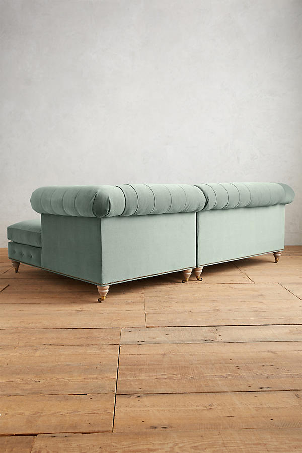 Slide View: 2: Velvet Lyre Chesterfield Right Sectional, Wilcox