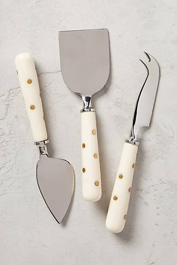 Brass-Dotted Cheese Knives