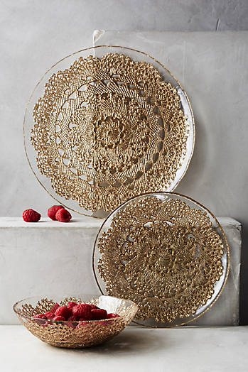 Slide View: 2: Metallic Lace Dinner Plate