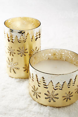 Etched Snowflake Candle