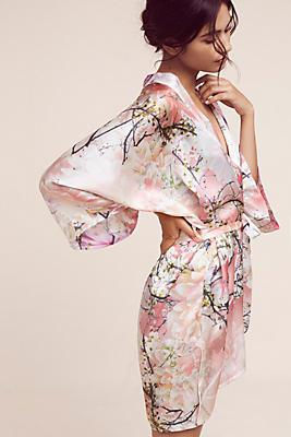 Slide View: 4: Samantha Chang Love Story Silk Kimono Robe
