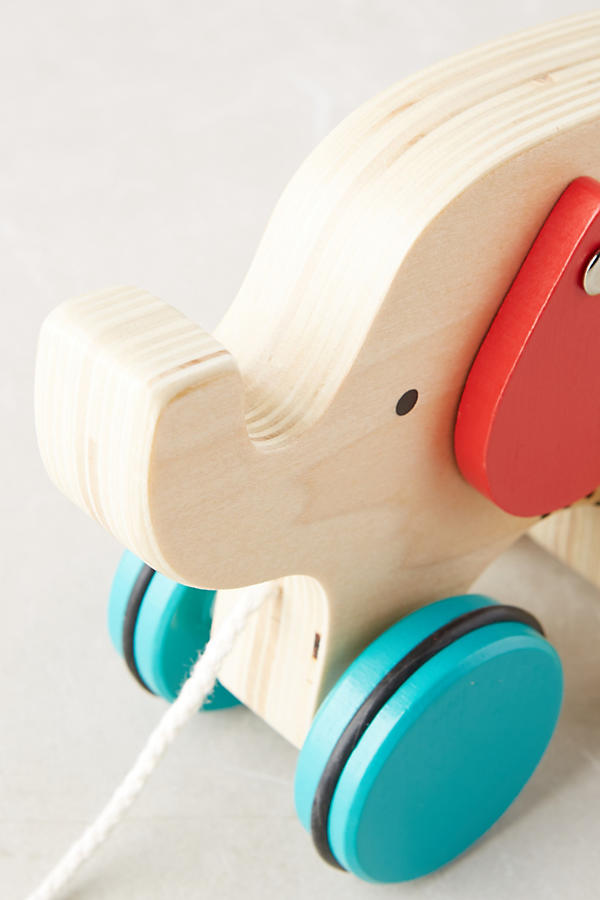 Slide View: 2: Wooden Elephant Pull Toy