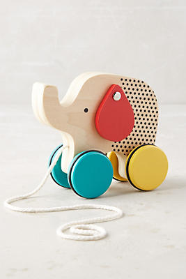 Slide View: 1: Wooden Elephant Pull Toy