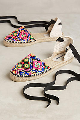 Slide View: 1: Manebi Embroidered Lace-Up Espadrilles