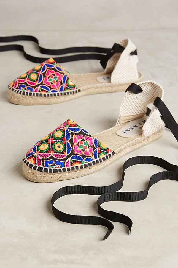 Slide View: 1: Manebi Embroidered Lace-Up Espadrilles