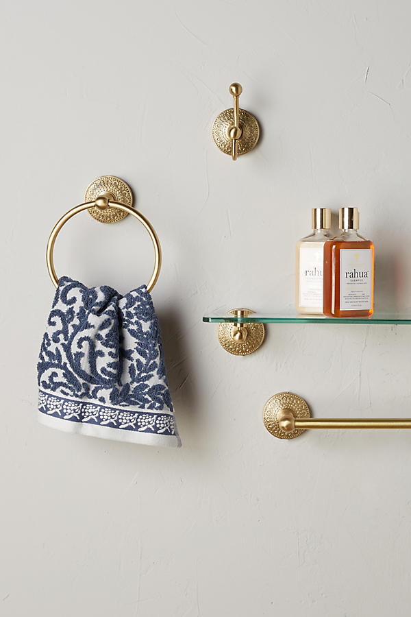 Slide View: 3: Brass Medallion Towel Ring