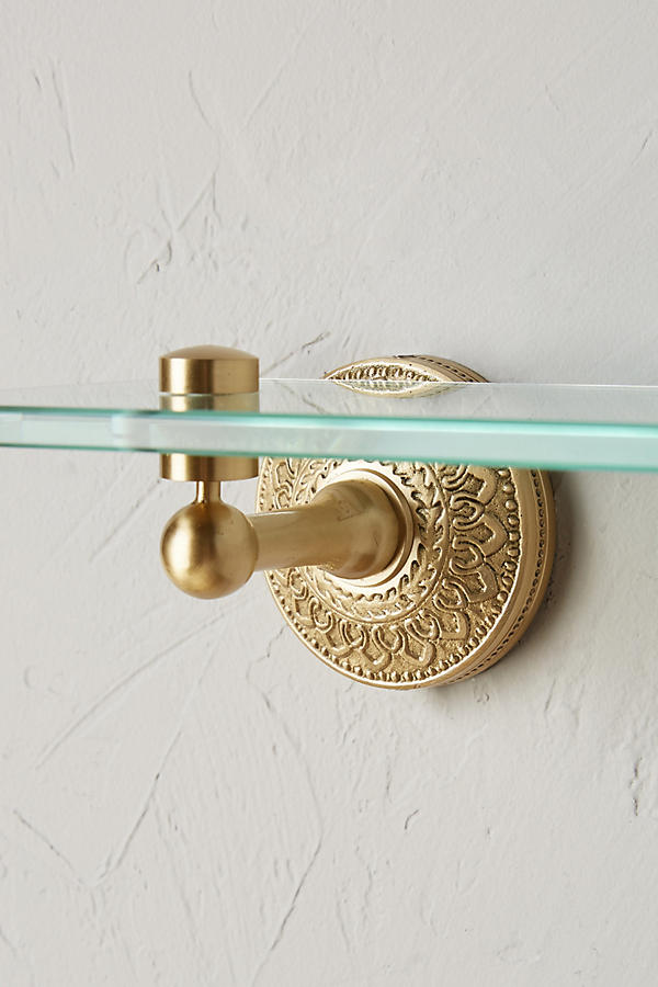 Slide View: 2: Brass Medallion Shelf